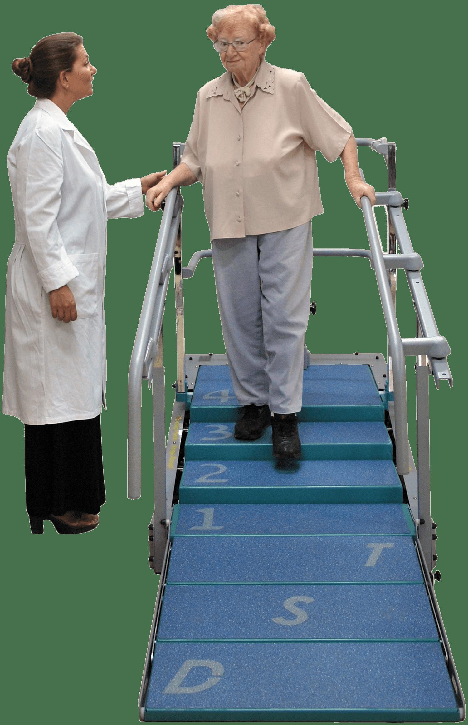 Dynamic Stair Trainer mit Dame auf Therapietreppe